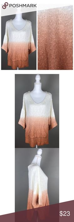 """{Easel}Oversized Dolman Ombre Sweater Ivory Copper In EXCELLENT condition! Item looks like its never been worn!!  Easel is a boutique brand.   Soft! Over-sized (can easily fit up to a large), dolman style, with a hoodie type of pocket in the front. Manufacturingloose holes found throughout. Ombre ivory, copper/ rust color.  100% Acrylic- Handwash  {Measurements taken flat without stretching} Armpit to armpit approx. 24"""" Length approx. 28""""  FAST SHIPPING! {Seller's note:A2-499} easel…"""