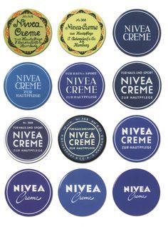 // Evolution of the NIVEA creme tin over time