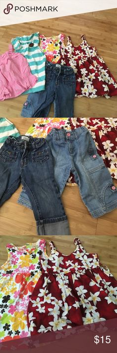 Toddler Girls bundle All good used condition. 2 tanks, 2 pairs of jeans, 2 adorable sundresses Other