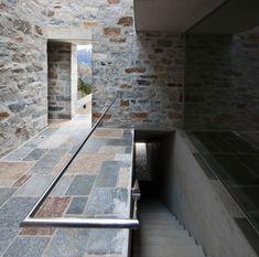 Stone House KÜ in Brione sopra Minusio, Ticino, Switzerland. Ancient Architecture, Contemporary Architecture, Interior Architecture, Interior And Exterior, Stone Masonry, Brickwork, Natural Stones, House Design, Open Spaces