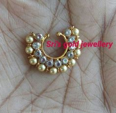 #nosering Antique Jewellery Designs, Gold Earrings Designs, Jewelry Design, Nose Ring Jewelry, Nose Rings, Ring Earrings, Nose Ring Designs, Diamond Nose Ring, Bridal Nose Ring