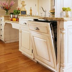 """Perfectly Integrated Dishwasher:  """"For a fully integrated style, this dishwasher's controls are on the upper door rim."""""""