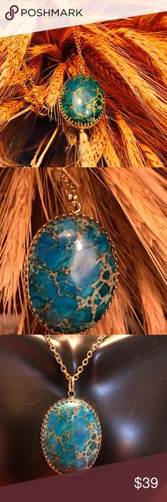 """Sea Sediment Jasper Gold Filigree Necklace A-9-35 30x40mm Oval Blue Sea Sediment Jasper Cabochon set a Gold Plated Filigree Setting.  The chain is golden and 24"""" long. 🎄Beautiful Christmas Gift🎁 Handmade by HM Simon Jewelry Necklaces"""