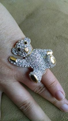 Check out this item in my Etsy shop https://www.etsy.com/listing/244142429/teddy-bear-ring-rhinestones-adjustable