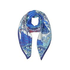 Mila Schon Square Scarves Seahorses and Coral Reefs Print Twill Silk... (2 715 UAH) ❤ liked on Polyvore featuring accessories, scarves, blue, square scarves, print scarves, formal shawl, blue shawl and blue scarves