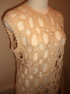 """For warmer weather, you CAN wear sweaters... """"ventilated"""" ones like this make great layers for any season... Vintage Crochet Sweater Vest Hippie Mod 1970s by OwlVintage, $58.00"""