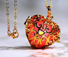 Love You Red - Glowing Heart  in 18K GOLD GP - Gold gp  Link Chain, Glow Pendant, Glow in the Dark, Glow Jewelry