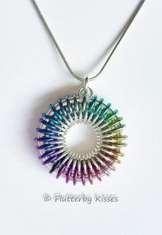 Sunburst Chainmaille Pendant in Silver Fill and Color Fade Niobium