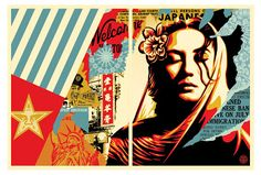 Welcome Visitor Diptych Prints By Shepard Fairey Release... #Arsetculture #Inside_the_Rock_Poster_Frame #Gig_Posters