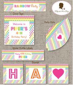 Printable DIY - Rainbow Party Birthday Invitation. $15.00, via Etsy.
