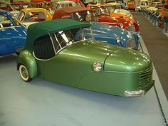 "1950 Bond Minicar Mark ""A"" This example, painted in its original metallic green, came from Holland via Germany"