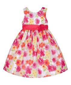 This White & Coral Floral A-Line Dress - Girls is perfect! #zulilyfinds