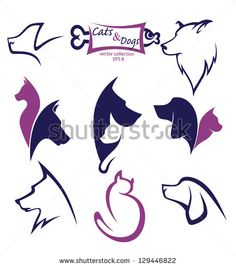 cats and dogs, my favorite pet, vector collection of animals symbols by tachyglossus, via Shutterstock Animal Line Drawings, Cat Icon, Animal Symbolism, Dog Logo, Animal Logo, Dog Art, Vector Art, Vector Stock, Line Art