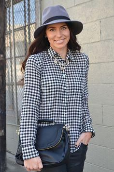 | coated denim | statement necklace | checkered