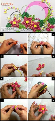 How to make Paper Quilling Pink Flower Card - Craftylity Quilling Flowers Tutorial, Paper Quilling Flowers, Paper Quilling Patterns, Quilling Paper Craft, Flower Tutorial, Paper Crafts, Neli Quilling, Quilled Roses, Quilling Ideas