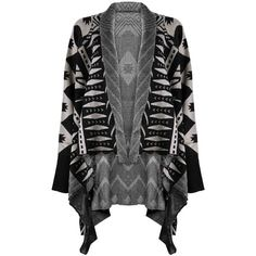 ZLYC Women Aztec Tribal Geometric Waterfall Open Front Blanket Wrap... ($30) ❤ liked on Polyvore featuring outerwear, aztec poncho, tribal poncho, sweater coat, open front poncho and aztec sweater coat