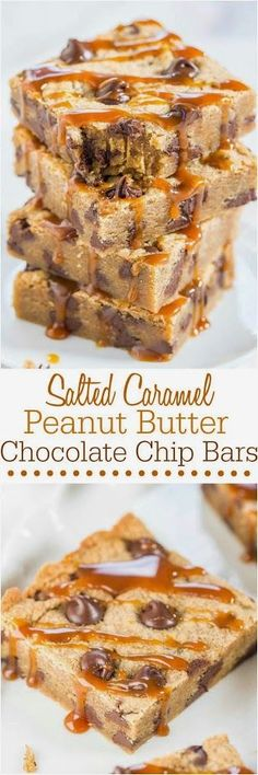 Averie Sunshine - Salted Caramel Peanut Butter Chocolate Chip Bars - Made with salted caramel PB