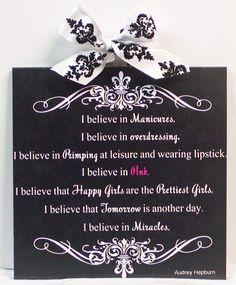 Audrey Hepburn Quote I Believe in Pink 2 Fleur de Lis Damask Wall Plaque | eBay