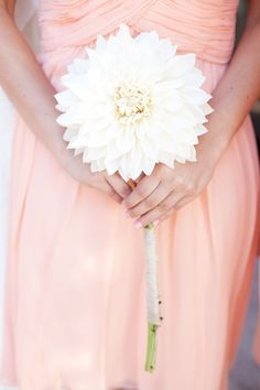 This single large dahlia flower is such a beautiful #wedding bouquet idea! Flower by http://lovelydayweddings.com/  Photo Credit: http://brittrenephoto.com/