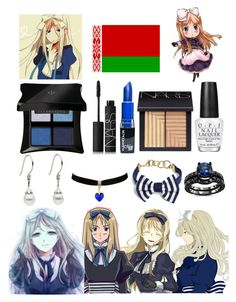 """Jewelry and Makeup - Belarus Inspired"" by ender1027 ❤ liked on Polyvore featuring Illamasqua, NARS Cosmetics, OPI and Brooks Brothers"