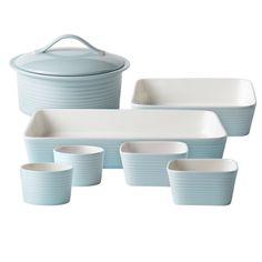 Gordon Ramsay Maze Blue 7-piece Bakeware Set   Overstock.com Shopping - Great Deals on Gordon Ramsay Ceramic Bakeware