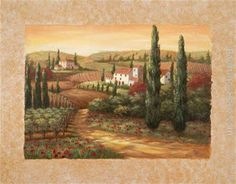 Tuscan Paintings | Vivian Flasch Paintings - Vivian Flasch Tuscan Sunset II Painting