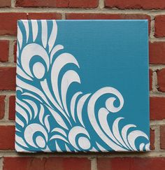 SALE - Modern Peacock Feather Swirls Silhouette Textured Print - 12x12 Square, 9 Color Variations - Canvas Reproduction on Etsy, $45.00