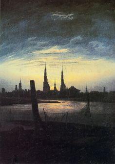Friedrich, Caspar David: Stadt bei Mondaufgang (Stadt am Wasser bei untergehender Sonne)