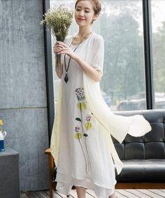 EC07167 Spring short sleeve dress gradient retro long dress for women