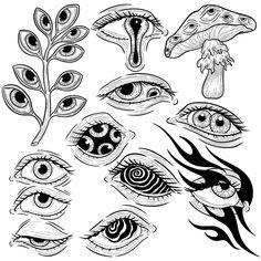 Cool Art Drawings, Art Drawings Sketches, Tattoo Sketches, Tattoo Drawings, Indie Drawings, Drawing Ideas, Arte Grunge, Psychedelic Drawings, Arte Sketchbook