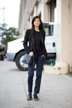 Larissa Hoffman is inspired by the boys in trousers and brouges, topped off with a tuxedo blazer.