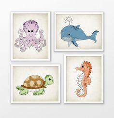 Cute Marine Nursery Prints Set Of 4  Kids Ocean by QuantumPrints