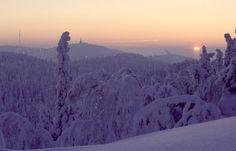 Ruka Ski Resort in winter sunset, Finnish Lapland
