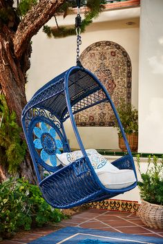 With a throne-like appearance, Pier Blue Medallion Swingasan® has open sides and a large flower medallion on the back. Outside Living, Outdoor Living, Outdoor Spaces, Outdoor Decor, Outdoor Tools, Back Patio, Interior Exterior, Large Flowers, My New Room