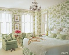 A tart shot of chartreuse galvanizes a toile wallpaper and fabric in the master bedroom of designer Anne Coyle's Chicago home
