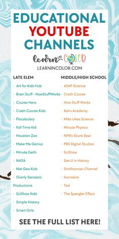 Educational Websites For Kids, Fun Websites For Kids, Best Educational Websites, Websites For Students, Educational Psychology, Educational Activities For Kids, Educational Youtube Channels, Vie Motivation, Home Learning
