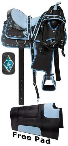 Blue Synthetic Western Saddle Tack Set 15 16