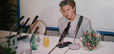 River Phoenix at a press conference for Stand By Me in Japan, 1987.