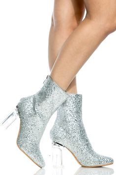 Sliver Glitter Chunky Translucent Ankle Booties @ Cicihot. Booties spell style, so if you want to show what you're made of, pick up a pair. Have fun experimenting with all we have to offer!