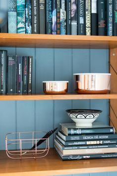 copper and blue kitchen Bookshelves, Bookcase, Interior Inspiration, Teak, Kitchen Dining, House, Invitation, Home Decor, Live