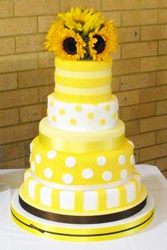Yellow, Polka Dot & Sunflower Wedding Cake