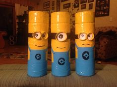 Minion geocaches!  Terry Swanson made and shared these on Facebook group... Say hi to the newest geocaching crew! Coming to a woods near you.