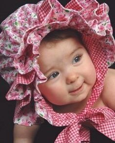 OOAK  Ruffled Baby Bonnet      Reversible by butterflikisses, $26.50