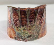 Iridized copper is fold-formed and artfully textured to create a wearable work of art for your wrist. Perfect for both jeans and suits. Fully adjustable and protected inside and out with a coat of Renaissance Wax for maximum protection. My beads and jewelry are 100% guaranteed. If you are not satisfied with your purchase, please contact me within 14 days of receipt to arrange a return and refund. Refund does not include shipping costs.