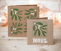 Christmas crafts: Make your own mistletoe and holly block-print cards Christmas Blocks, Diy Christmas Cards, Christmas Art, Handmade Christmas, Christmas Decorations, Christmas Card Designs, Christmas Vacation, Christmas Movies, Christmas Projects