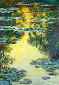 Claude Monet (1840-1926), Water Lilies, 1907.   (Alternate reproduction)  http://1.bp.blogspot.com/-CkpdhSUhwTo/Uqz6856xHaI/AAAAAAAAiQE/8YmYJ5lc7eM/s1600/monet++water+lilies+1907+alongtime.jpg