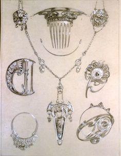 Alfons Mucha jewelry designs