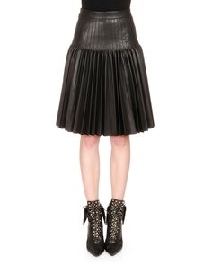 Givenchy Pleated Leather Fit-and-Flare Skirt, Black