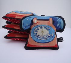 Telephone lavender bag  blue and red by IvyArch @Etsy