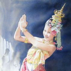 Martine Vanparijs WATERCOLOR Watercolor Dancer, Watercolour Art, Watercolour Tutorials, Watercolor Portraits, Watercolors, Funny Art, Coups, Funny Kids, Dancers